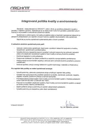 Integrovaná politika kvality a environmentu
